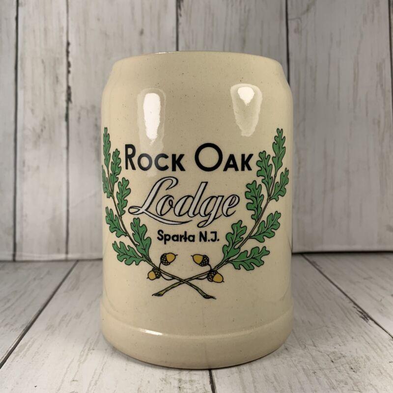 "Rock Oak Lodge Stein Mug Sparta NJ Half Liter Made In Germany 5 1/4"" Tall"