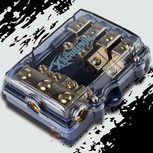 4 POSITION MINI ANL (AFS / MIDI) GOLD DISTRIBUTION BLOCK 4 TO 8 GAUGE CAR MARINE