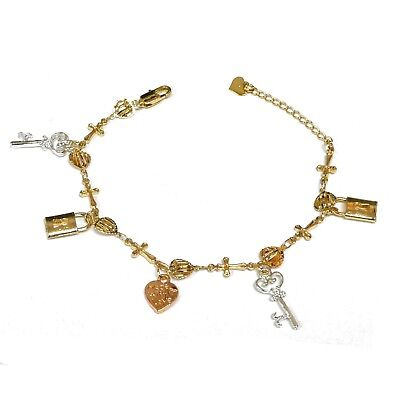14k Gold Plated 3-Tone Key and Lock Dangling Charms with Heart Cross Bracelet (14k Gold Tone Charm Bracelet)