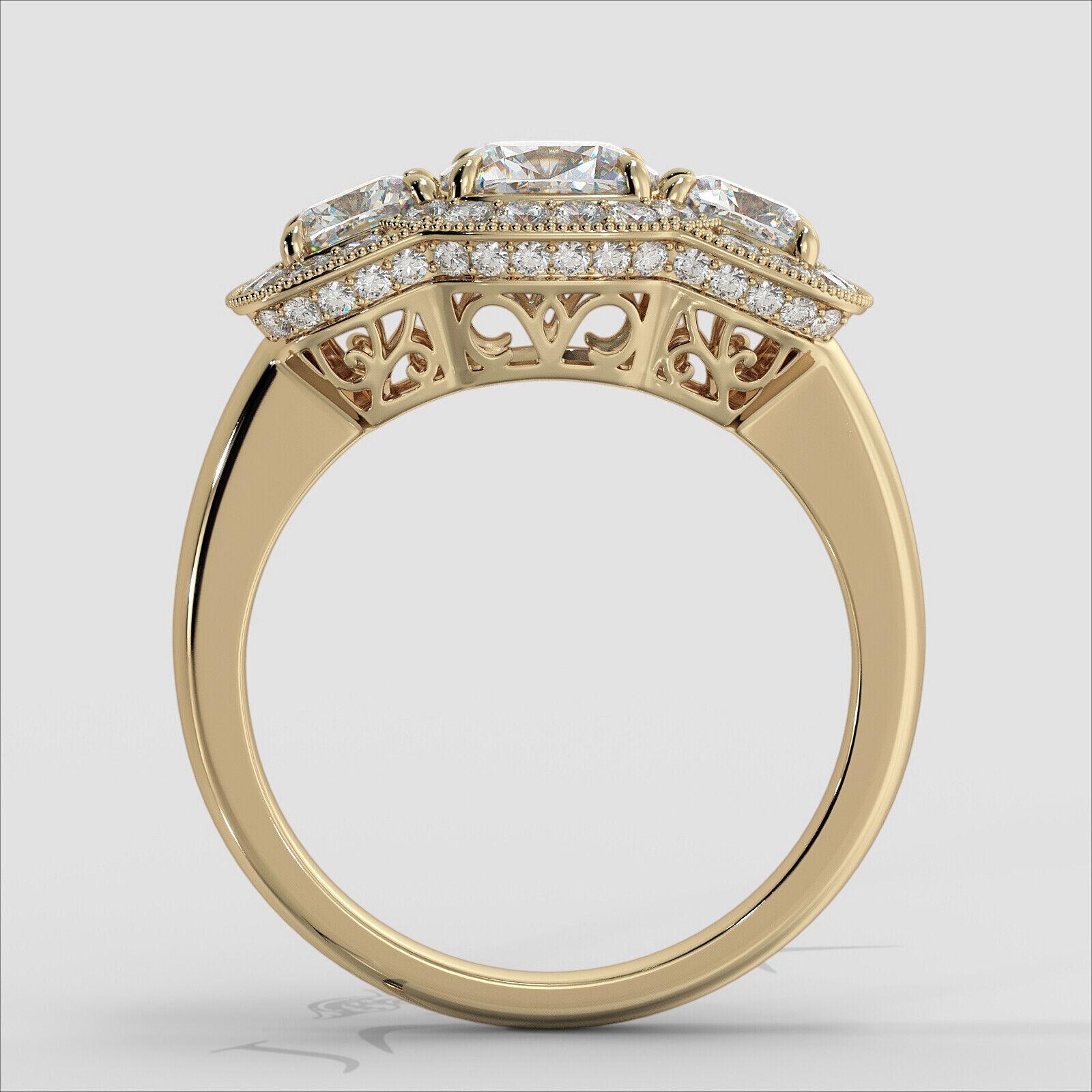 2.25ctw Milgrain Halo 3 Stone Cushion Diamond Engagement Ring GIA I-SI1 W Gold 10