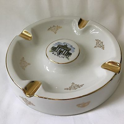Berlin Germany Souvenir Ashtray Vintage 60s 70s West Berlin Porcelain Gold 9""