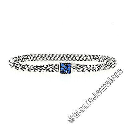 "John Hardy 7.5"" Classic Chain Silver Lava Ex Small Sapphire Bracelet w/ Pouch WM"
