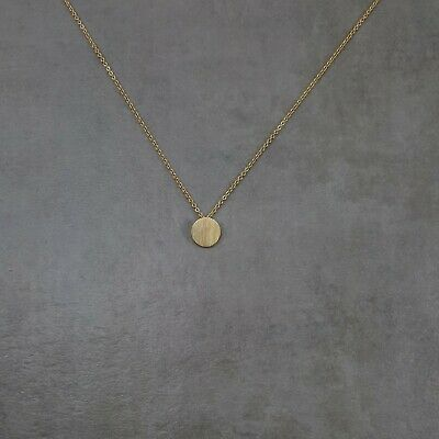 Filled Circle GOLD Necklace Plated Round Tag Charm Pendant Dainty Gift Box Disc