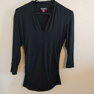 Vince Camuto Black V Neck Blouse Gathered Sides Size Small