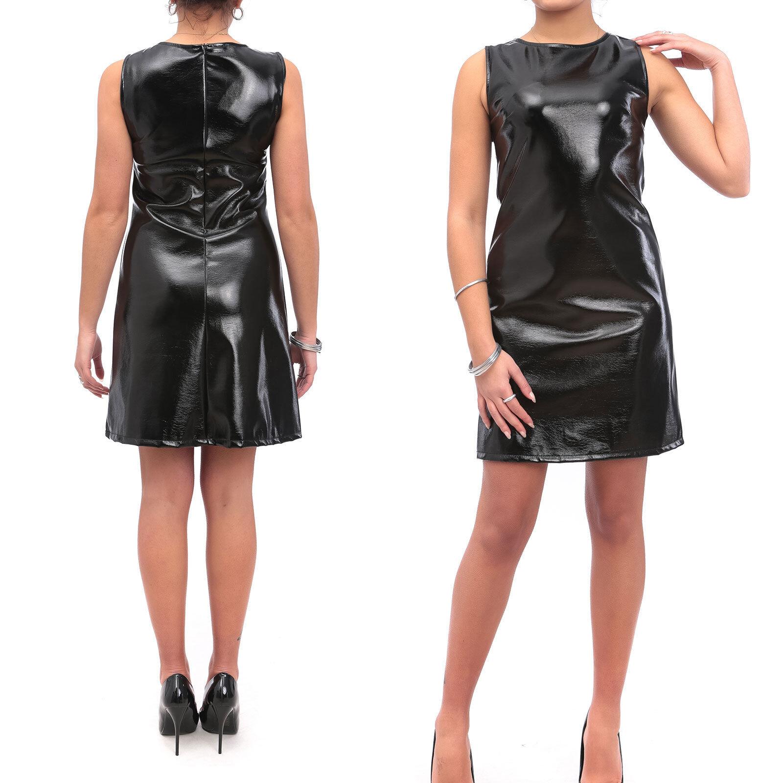 Vestito Donna Abito Corto Vinile Eco Pelle Lucida Latex Aderente Tubino  v1450.   d55768207dd