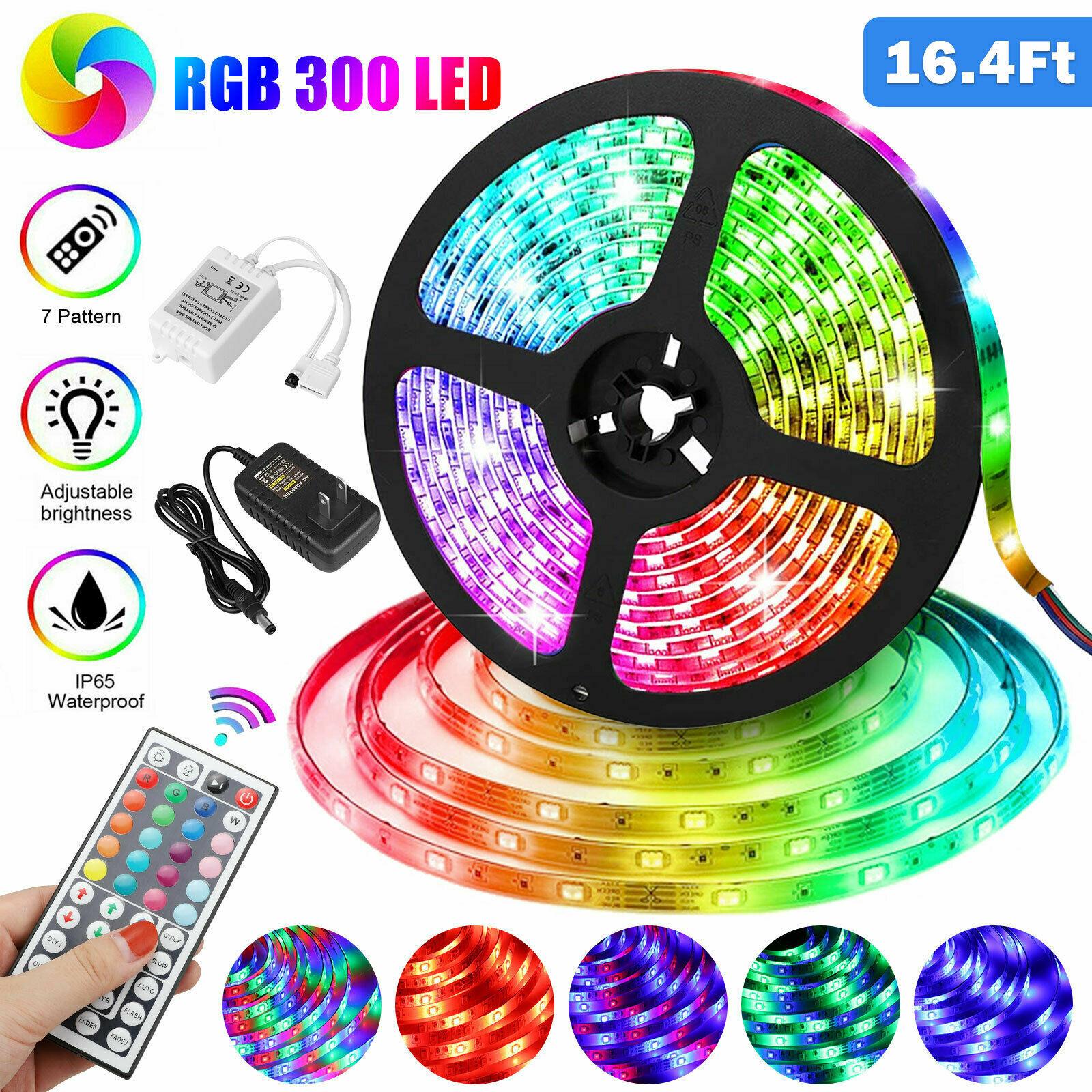 RGB 5M 16.4ft Waterproof 3528 SMD 300 LED Flexible Light Strip 12V+44 Key Remote Home & Garden