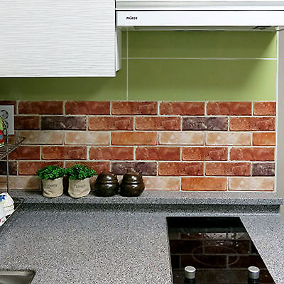 Brick Effect Tile Stickers Home Decor Kitchen Bathroom Wall DIY Wallpaper Decal