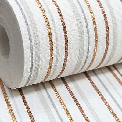 llic Copper Gold Grey White Lines Textured Vinyl Wallpaper  (Metallic Gold Vinyl)