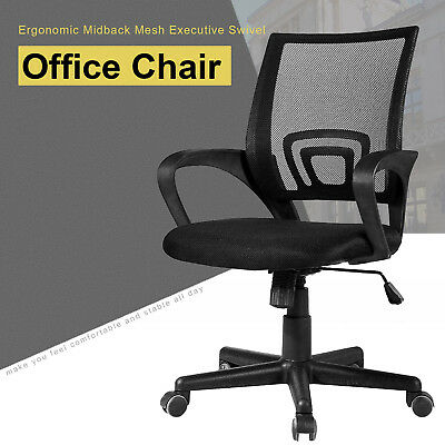 Ergonomic Mesh Midback Office Chair Executive Swivel Computer Desk Task Black