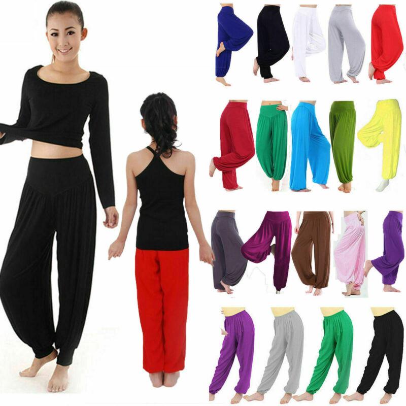 Damen Kinder Haremshose Pumphose Pluderhose Aladinhose Ballon Sports Yoga Hose