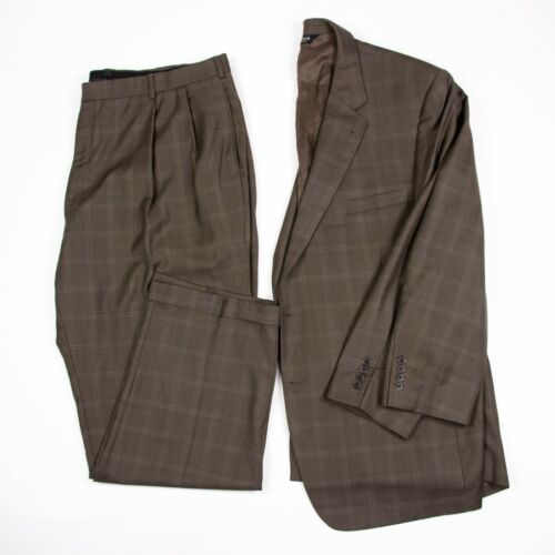 Jos A Bank Signature Collection Mens 50R Brown Plaid 2PC Wool Suit