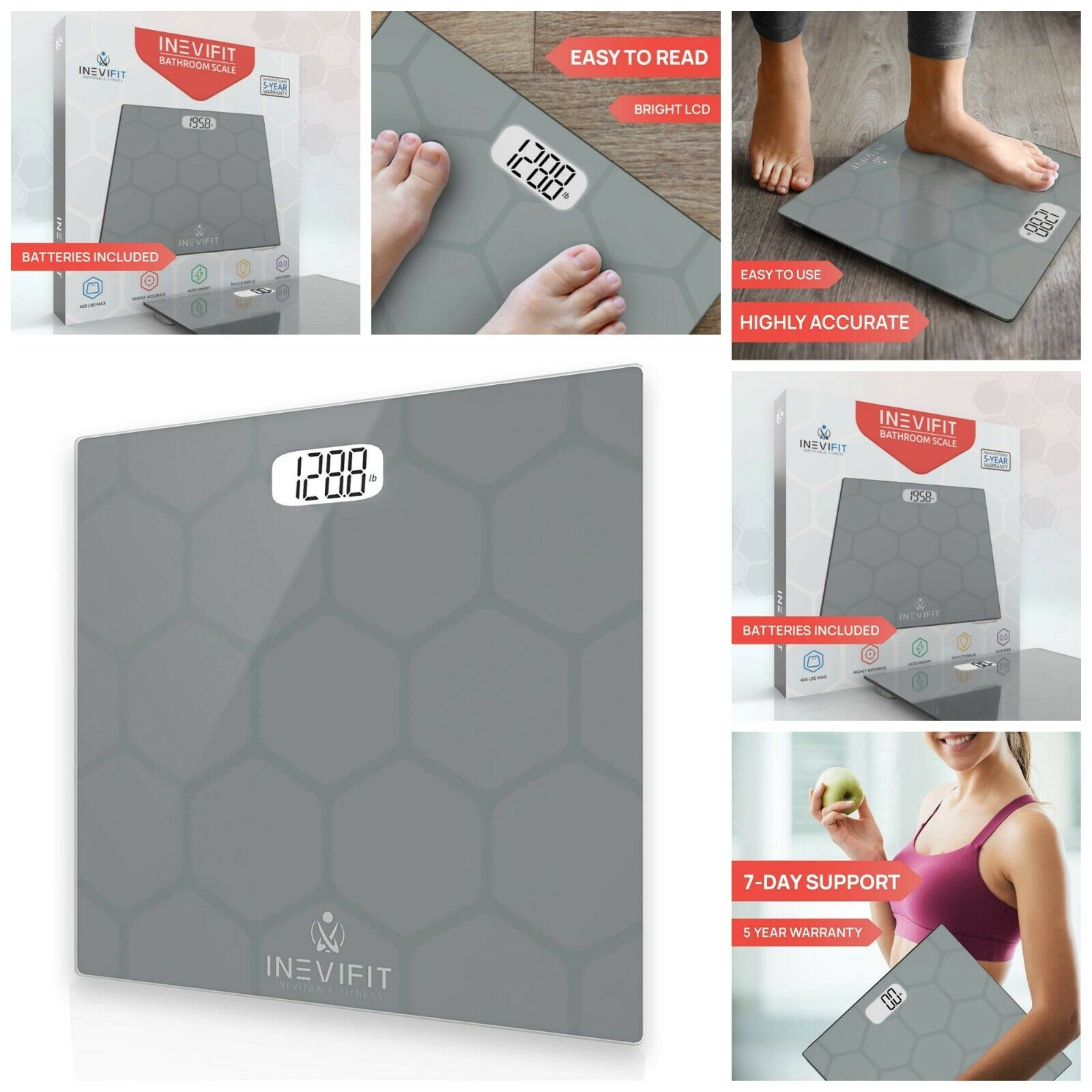 Digital Bathroom Body Scale Highly Accurate Tempered Glass Weight Up To 400 lbs.