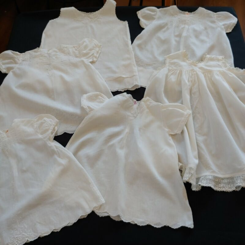 Vintage and Antique White Baby Gowns, Slips Madeira Handmade– Lot of 6