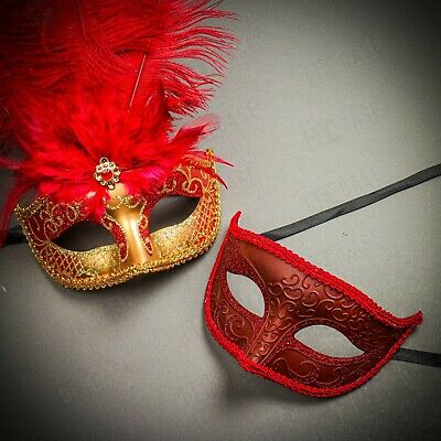 Luxury Gold Red Feather Masquerade Venetian Masks for Party Couple Men & Women