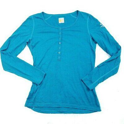 Icebreaker Women's 100% Merino Wool 200 Henley Pullover Medium M Blue Stripe
