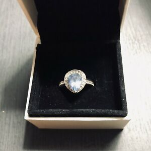 Diamonds and Blue Topaz 925 Sterling Silver Ring