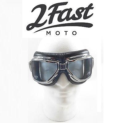 2FastMoto Roadhawk Goggles Chrome Frame Cruiser Triumph Victory Harley Davidson