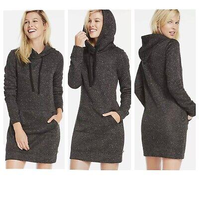 Fabletics Yukon Sweatshirt Dress Small KnitFit Hooded Black White Marled Gray