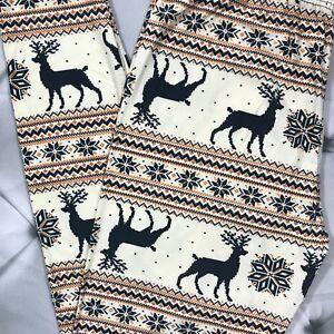 ffa21ba06528 Plus Size Christmas Reindeer Snowflake Print Leggings 12-18 Buttery Soft TC