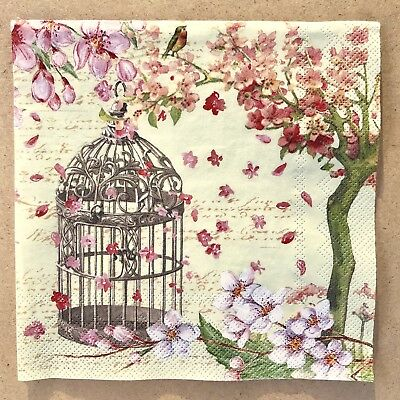 1 single Decoupage Craft Luncheon Napkin Birdcage Bird Cherry Tree Blossoms