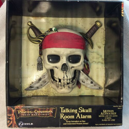 Pirates of the Caribbean Dead Mans Chest Talking Skull Room Alarm NEW in Box