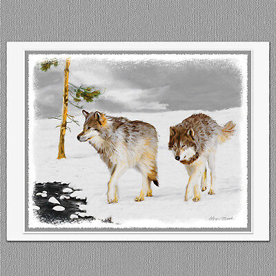 6 Christmas Cards Wolves in Snow Wolf Art Note Greeting Cards