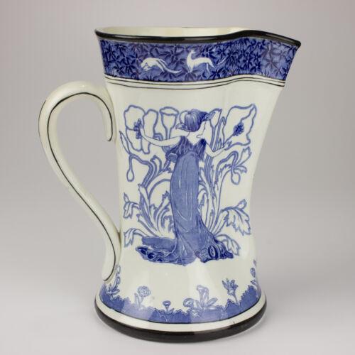 "Buffalo Pottery Art Nouveau Blue & White Gloriana 9"" Antique Pitcher"