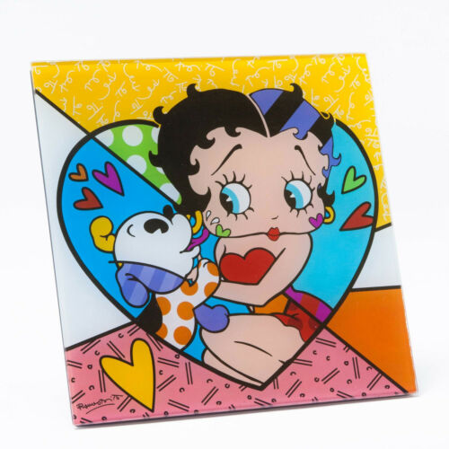 Romero Britto Betty Boop with Pudgy Art Plaque / stands 8 in X 8 in