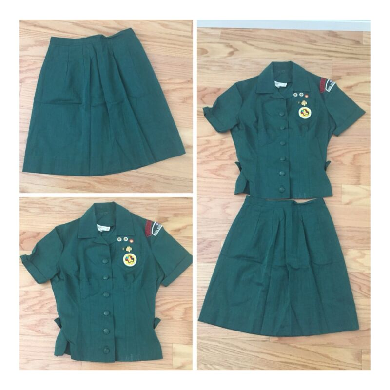 Vintage 1960's Senior Girl Scout Uniform 2 Piece Blouse Skirt, Patches, Panorama