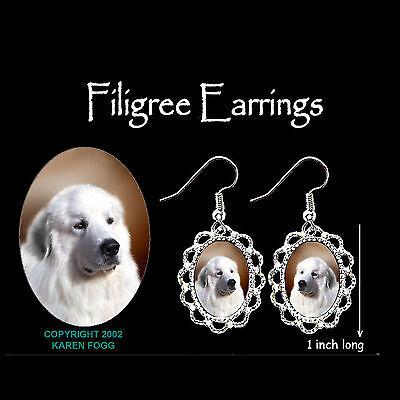 GREAT PYRENEES DOG - SILVER FILIGREE EARRINGS Jewelry