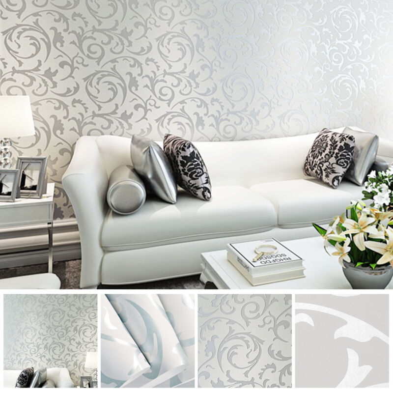 Home Decoration - 3D Home Decor Metallic Textured Damask Embossed Wallpaper Soft Silver Glitter