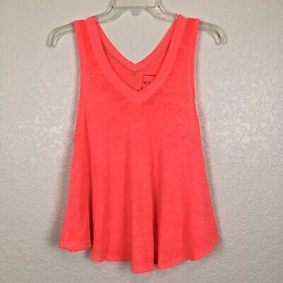Free People We the Free Coral Peach Breezy Burnout Swing Oversized Tank Size XS