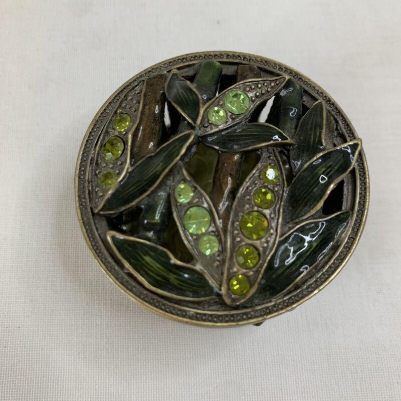 Vintage Rhinestone & Enamel Leaf Jewelry Trinket Box with Bamboo Design