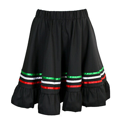 Girls Mexican Traditional Cinco De Mayo Costume Fiesta Skirt Black Child Kids