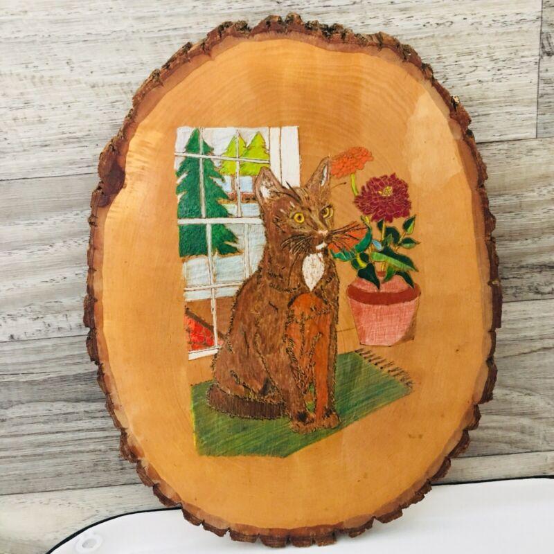 Vntg Cat Kitty Wood Slice Folk Art Primitive Painting Wall Plaque Window Flower