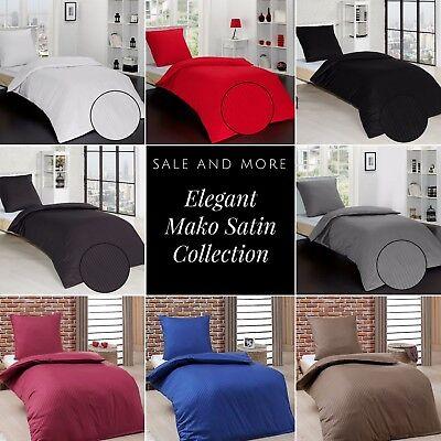 Luxus Mako Satin Bettgarnitur 2 tlg.Bettwäsche 135x200 cm mit Reißverschluss ()