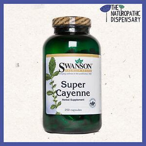 SUPER CAYENNE PEPPER 100,000HU. 250 capsules SWANSON Cardiac & Metabolic Care