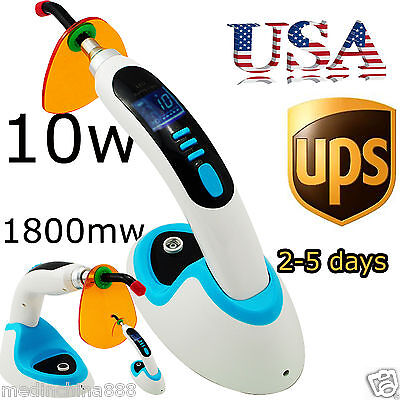 10w Wireless Dental Led Curing Light Lamp 1800mw Teeth Whitening Blue Color -us