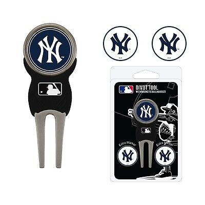 (New York Yankees MLB Team Golf Divot Tool with 3 Magnetic Ball Markers)