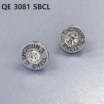 Silver Finish Clear Stone Shotgun Shell 12 GA Engraved Bullet Shape  Earrings ()
