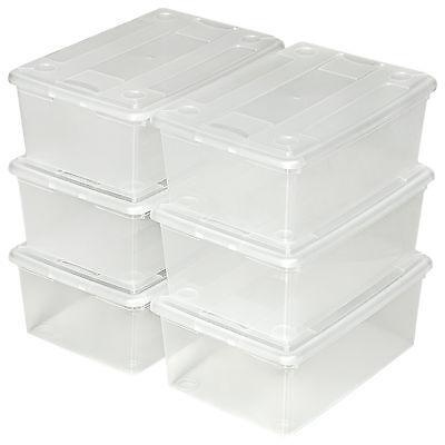 2x 6er Set Schuhbox mit Deckel stapelbar Aufbewahrungsbox Kunststoffbox neu