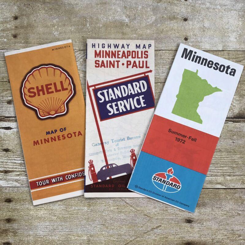 Lot of 3 Vintage Maps Minnesota Standard Oil Shell Gasoline Advertising Travel