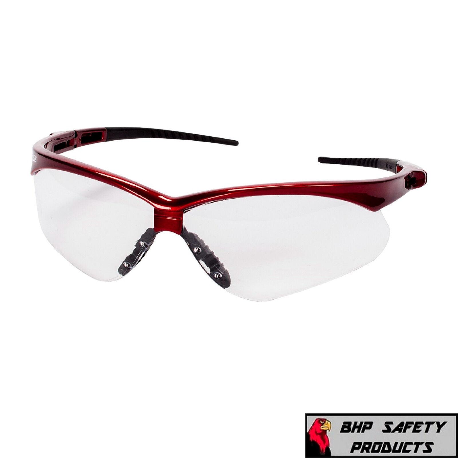JACKSON NEMESIS SAFETY GLASSES SUNGLASSES SPORT WORK EYEWEAR ANSI Z87 COMPLIANT 47378- Red Frame/Clear AF Lens