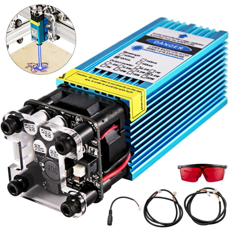 5.5W Laser Module Head 450nm 12V TTL Focusable Blue For CNC Engraving Cutter USA