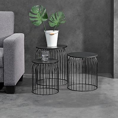 [en.casa]® Metallkorb Beistelltisch Couchtisch Sofatisch 3er Set Deko Schwarz