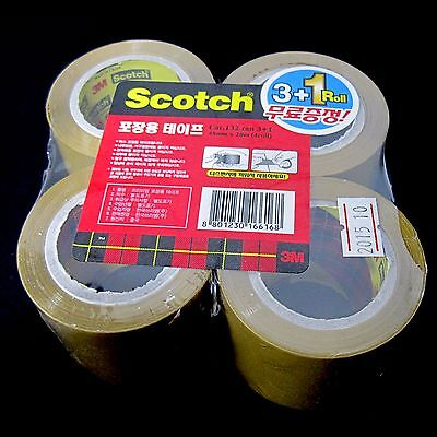 New Brown 4 Rolls 3M Scotch Box Tape Packing Tape Wrapping Tape 48mm x 20m