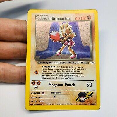 Pokemon Gym Heroes Rocket's Hitmonchan 11/132 Holo Rare Card WOTC Holo SWIRL