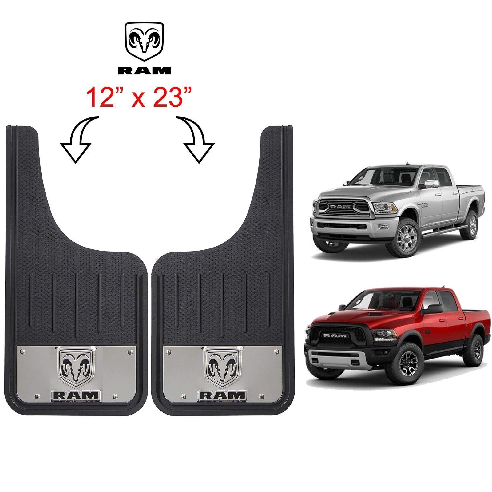 2 Horn Logo Licensed Black 12X23 Front Splash Guards SUV Truck Mud Flaps for Ram