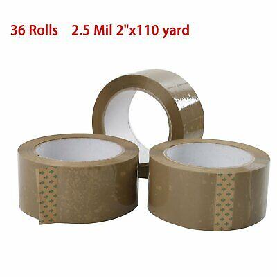 36 Rolls Premium Brown Carton Box Sealing Packing Tape 2.5 Mil 2x110 Yard