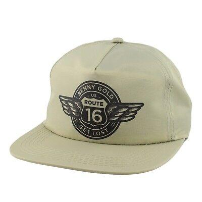 Benny Gold Route  Sand Black Screenprint Logo Snapback Adjustable Mens Hat